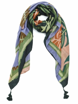 SCARF FLORAL WITH GREEN TESSEL logo