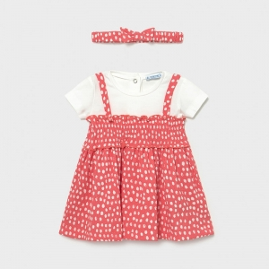 MIXED DRESS WITH POLKA DOTS logo