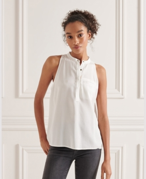 TENCEL SLEEVELESS SHIRT logo