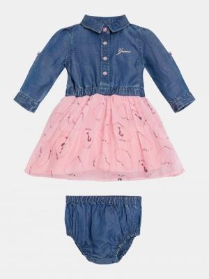 SET MIX FABRIC LS DRESS+PANTIE logo