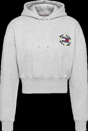 CROP FLORAL BADGE HOODIE logo